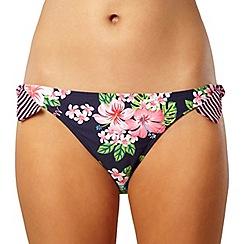 Mantaray - Navy hawaiian striped bikini bottom