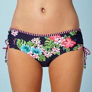 Pink hibiscus flower ruched bikini bottoms