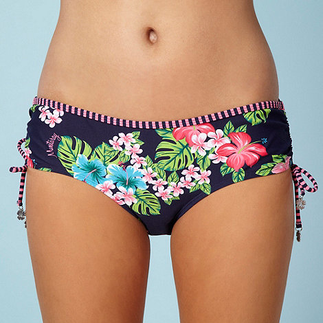 Mantaray - Pink hibiscus flower ruched bikini bottoms