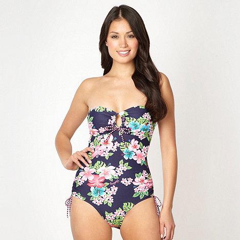 Mantaray - Pink hibiscus flower bandeau swimsuit