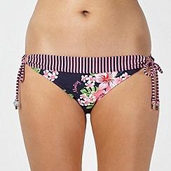 Mantaray - Pink striped border hibiscus flower bikini bottoms