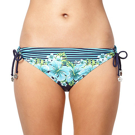 Mantaray - Blue striped border floral bikini bottoms