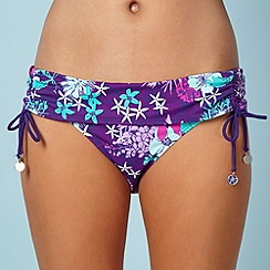Mantaray - Purple floral fold bikini bottoms