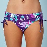 Purple floral fold bikini bottoms