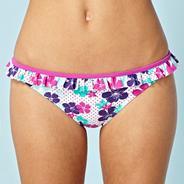 White floral frill bikini bottoms