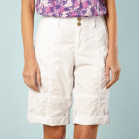 Mantaray - White turn up cargo shorts
