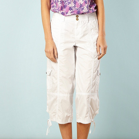Mantaray - White cropped cargo trousers