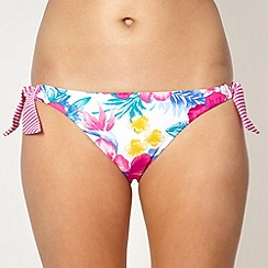 Mantaray - White floral tie side bikini bottoms