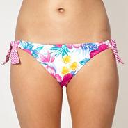 White floral tie side bikini bottoms