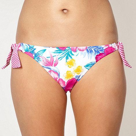 Mantaray - White floral tie side bikini bottoms