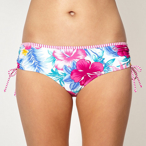 Mantaray - White floral bikini bottoms with ruching detail
