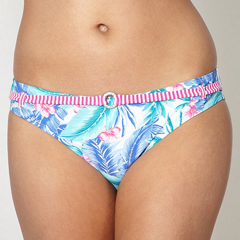 Mantaray - White leaf patterned belted bikini bottoms