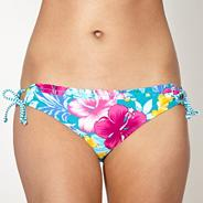 Turquoise floral looped bikini bottoms