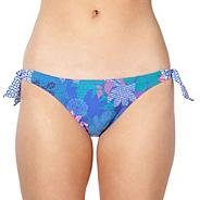 Blue abstract floral bunny tie side bikini bottoms