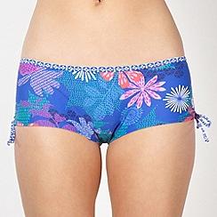 Mantaray - Blue abstract floral ruched side bikini shorts