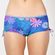 Blue abstract floral ruched side bikini shorts