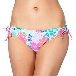Mantaray - Pink floral looped bikini bottoms