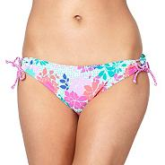 Pink floral looped bikini bottoms