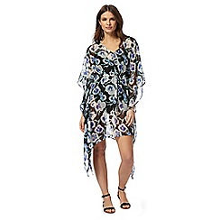 Beach Collection - Black pansy print kaftan