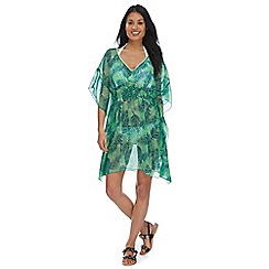 Beach Collection - Green palm print kaftan dress