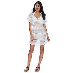 Beach Collection - White crochet kaftan dress