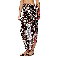 Beach Collection - Black Japanese floral sarong
