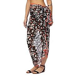 Beach Collection - Black Japanese floral sarong