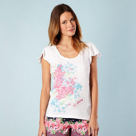 Mantaray - White frill sleeve floral t-shirt