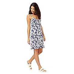 Mantaray - Navy and white floral palm leaf print dress