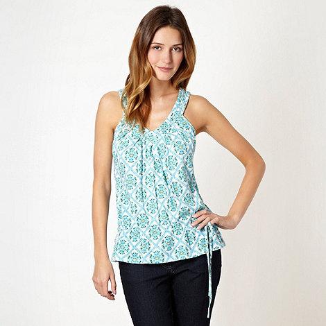 Mantaray - Bright turquoise geometric floral vest