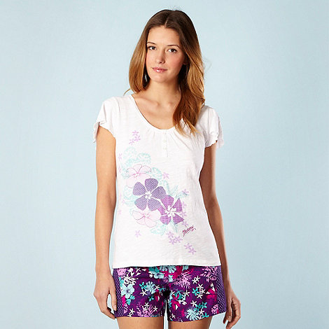 Mantaray - White floral frill sleeve top