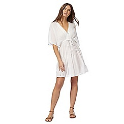 Mantaray - White angel sleeve embroidered kaftan