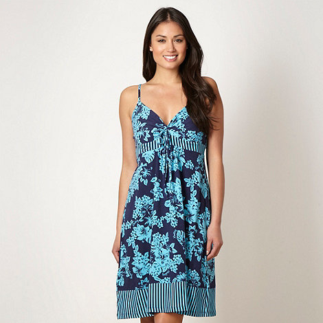 Mantaray - Bright blue tie front floral beach dress