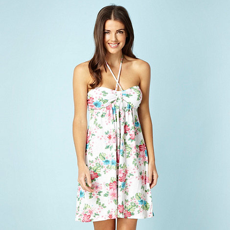 Mantaray - White floral jersey halter neck beach dress