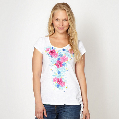 Mantaray - White placement floral t-shirt