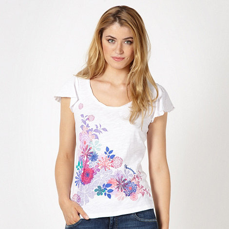 Mantaray - White embroidered floral t-shirt