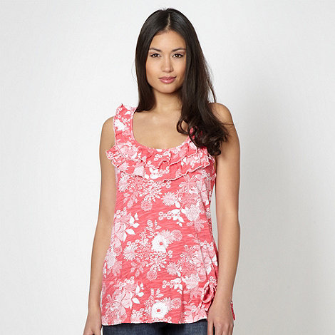 Mantaray - Pink floral frilled neck vest
