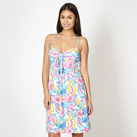 Mantaray - White floral tie front beach dress