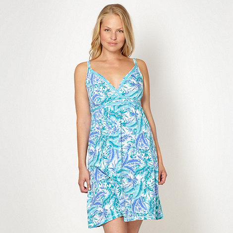 Mantaray - Turquoise palm tree printed beach dress