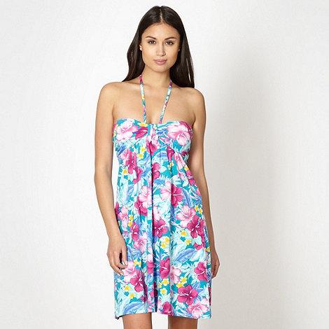 Mantaray - Turquoise floral bandeau beach dress