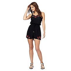 Red Herring - Black embroidered cherry playsuit