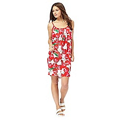 Red Herring - Multi-coloured cherry print scoop neck sleeveless mini beach dress