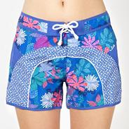 Blue floral tie beach shorts