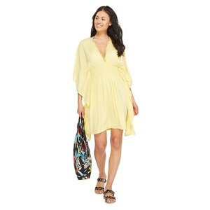 Floozie by Frost French Light yellow bead embellished kaftan