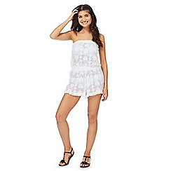 Floozie by Frost French - White lace hearts playsuit