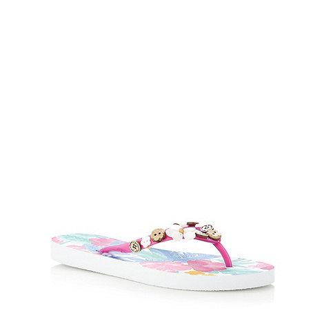 Mantaray - Pink floral embellished flip flops