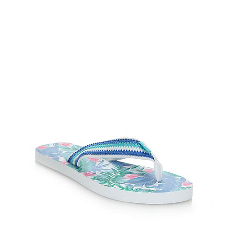 Mantaray - Blue woven strapped flip flops