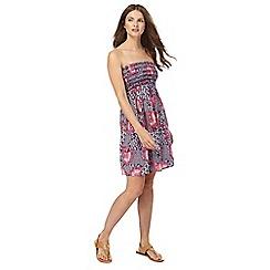 Beach Collection - Multi-colour floral print bandeau mini length beach dress