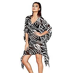 Beach Collection - Black zebra V-neck kaftan