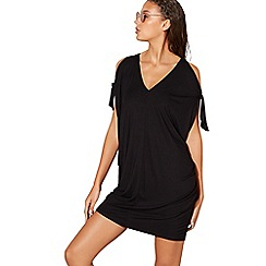 Beach Collection - Black jersey v-neck kaftan